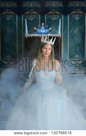 portrait of snow queen and throne with fog