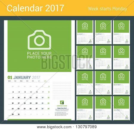 Wall Monthly Calendar For 2017 Year. Vector Design Print Template With Place For Photo. Week Starts