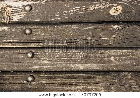 Old wooden texture with metal rivets, Old Wood Texture for Background