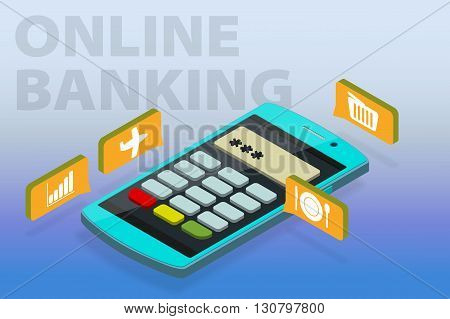 Flat 3D Isometric Vector Clipart Online Banking