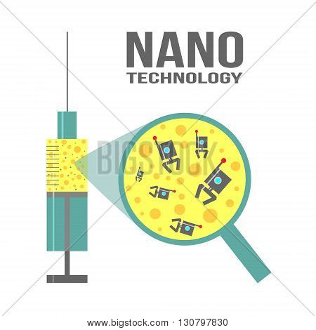 Vector illustration on theme of nanotechnology for science medicine microbiology.