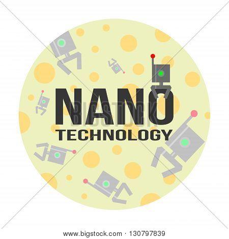 Nanotechnology concept of logo and background. Illustration for science medicine physics biophysics etc.