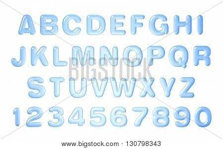 Water font. Alphabet of Water, Latin alphabet made of water.