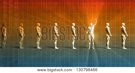Leadership Abstract Background with Man Pumping Fist in Triumph 3d Illustration Render
