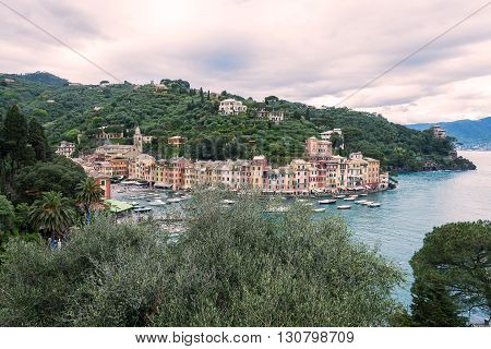 a view of portofino a beautiful town in italy