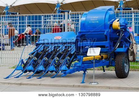 GOMEL BELARUS - MAY 19 2016: Harvester for harvesting of flax