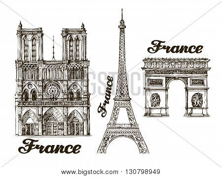 Travel. Hand drawn sketch France. Vector illustration