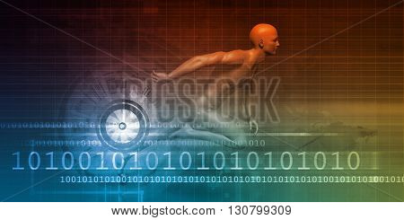 Man Racing on a Technology Background as Art 3d Illustration Render