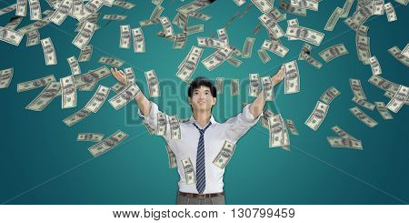 Asian Man Catching Money Falling From the Sky in US Dollars 3d Illustration Render