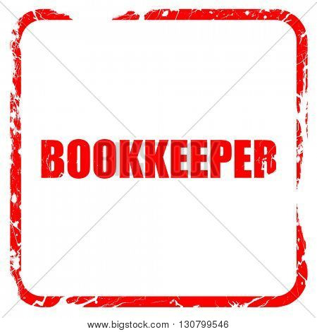 bookkeeper, red rubber stamp with grunge edges