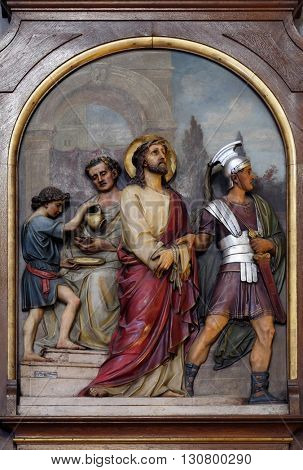 ZAGREB, CROATIA - SEPTEMBER 14: 1st Stations of the Cross, Jesus is condemned to death, Basilica of the Sacred Heart of Jesus in Zagreb, Croatia on September 14, 2015