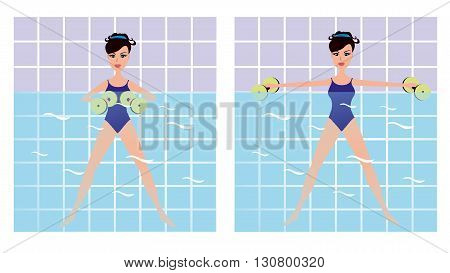 Beautiful girl doing Aqua aerobics. Vector girl doing physical exercise in the water. Cartoon Women making aqua gym exercises with dumbbells in swimming pool.