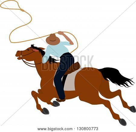 Cowboy rider on the horse throwing lasso Wild West vector illustration