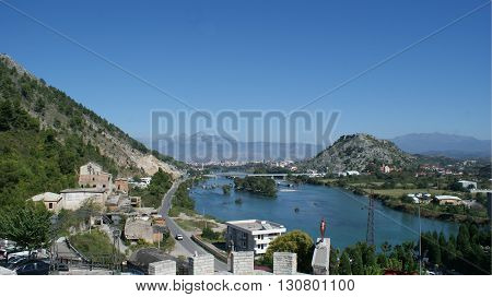 Beautiful nature in Albania Shkoder city in summer