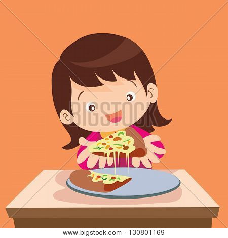 Vector illustration of Girl and pizza.Beautiful girl eating pizza.Happy cute little girl holds in hands a pizza.Hungry girl eating a slice of pizza