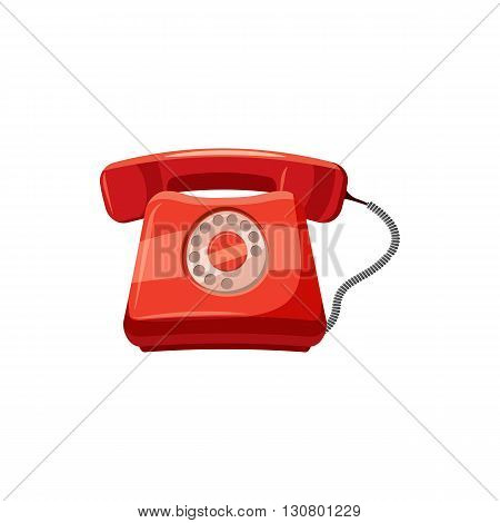 Red retro phone icon in cartoon style on a white background
