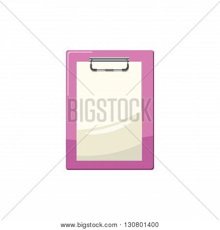 Clipboard with a blank sheet of paper icon in cartoon style on a white background