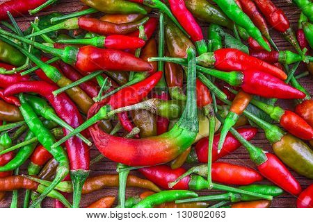 Lot of chili as a food background. Chili Pepper.