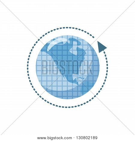 Blue earth and arrow icon in cartoon style on a white background