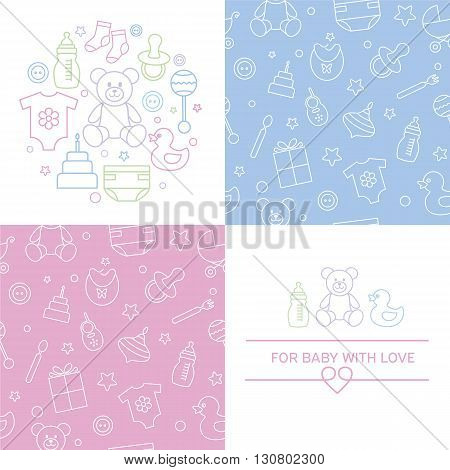 Collection of baby seamless patterns and emblems. Easy to edit and recolor. Linear style and colorful icons. Design for packaging for invitation and baby shower card. Vector illustration