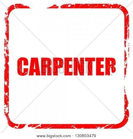 carpenter, red rubber stamp with grunge edges