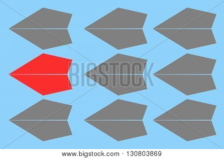 Red paper plane leading gray ones on isolated on blue background Leadership concept