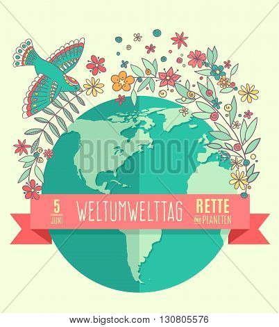 World environment day concept with mother earth globe and green leaves and flovers on beige background. German translation of the inscription: World Environment day. Save the Planet. 5 June. Vector Illustration.