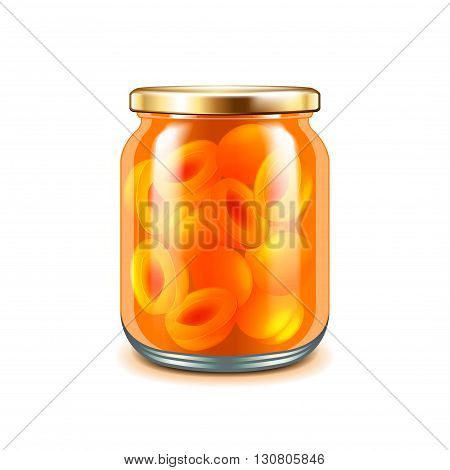 Apricot jam isolated on white photo-realistic vector illustration