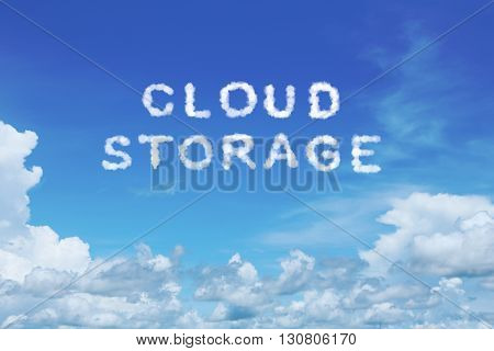 background of clear blue sky with cloud storage cloud text