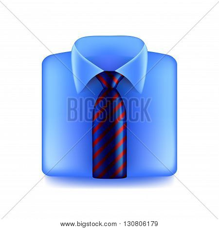 Blue shirt with striped tie isolated on white photo-realistic vector illustration