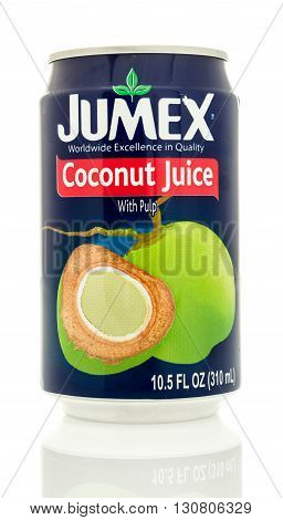 Winneconne WI - 19 May 2016: Can of Jumex coconut juice on an isolated background