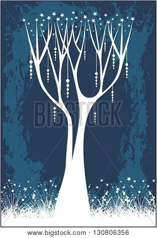 Tree with grass on a blue background.