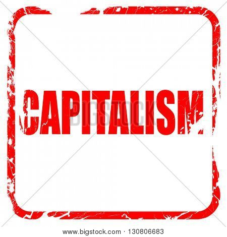 capitalism, red rubber stamp with grunge edges