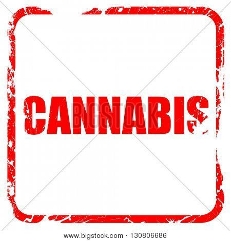 cannabis, red rubber stamp with grunge edges