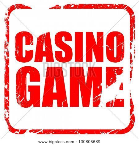 casino game, red rubber stamp with grunge edges