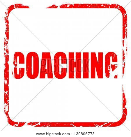 coaching, red rubber stamp with grunge edges