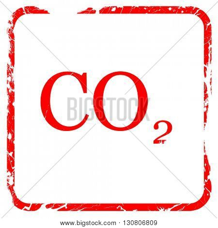 CO2 warning sign, red rubber stamp with grunge edges