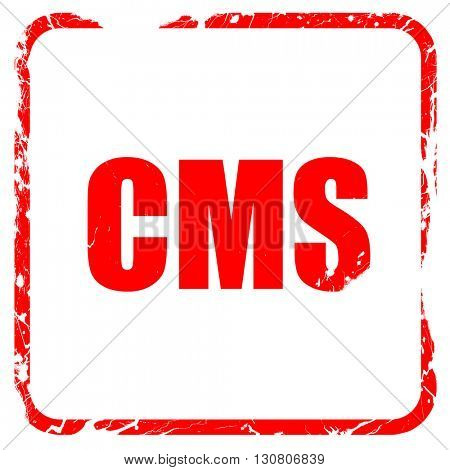 cms, red rubber stamp with grunge edges