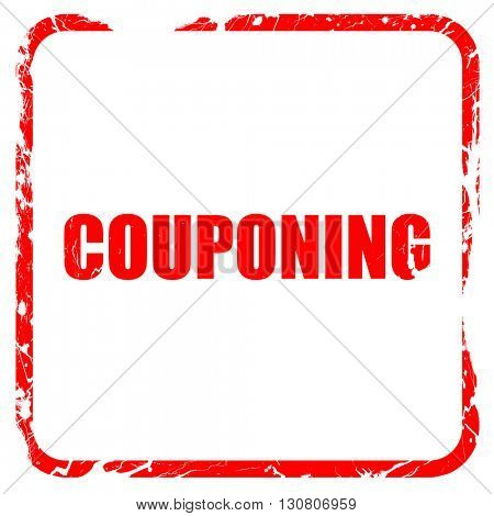 couponing, red rubber stamp with grunge edges