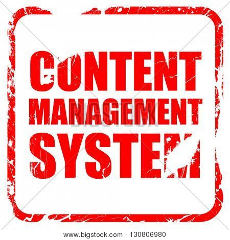 content management system, red rubber stamp with grunge edges