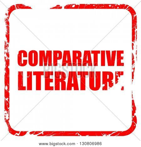comparative literature, red rubber stamp with grunge edges
