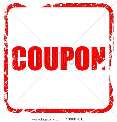 coupon, red rubber stamp with grunge edges