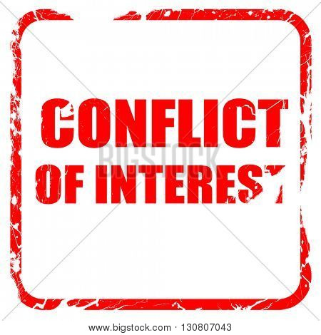 conflict of interest, red rubber stamp with grunge edges