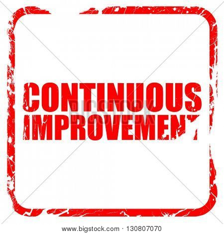 continuous improvement, red rubber stamp with grunge edges
