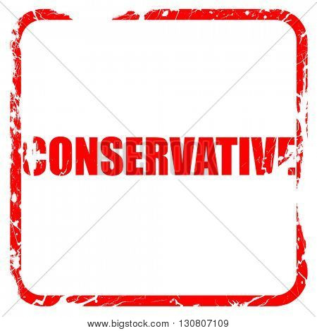 conservative, red rubber stamp with grunge edges