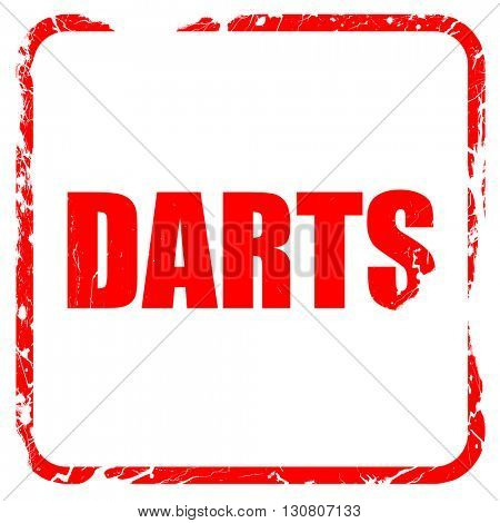 darts, red rubber stamp with grunge edges