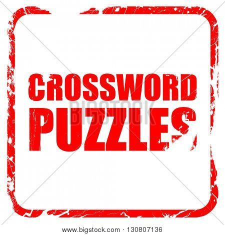 crossword puzzles, red rubber stamp with grunge edges