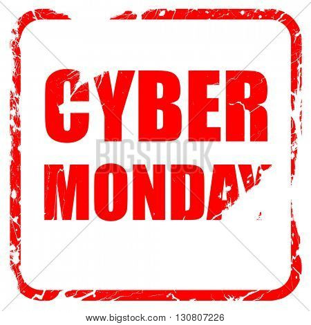 cyber monday, red rubber stamp with grunge edges