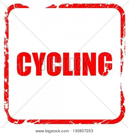 cycling, red rubber stamp with grunge edges