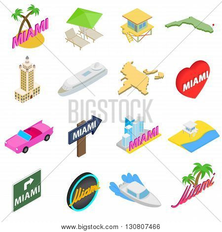 Miami icons set in isometric 3d style isolated on white background